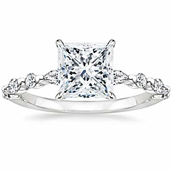 '2ct 925 Sterling Silver Ring Princess Cut Solitaire Cz Engagement Ring Marquise Amp; Round Halo Promise Ring For Women Size 7 Miniinthebox