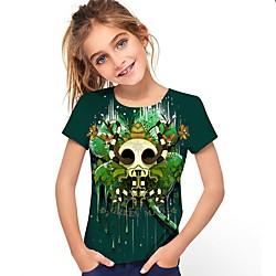 Vêtements bébé Enfants Fille Actif Graphique 3D Imprimé Manches Courtes Tee-shirts Vert miniinthebox