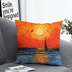 Home & Garden 1 Pc Cushion Cover with or without Pillow Insert Double Side Print Sunset Sea 38x38cm / 45x45cm Polyester miniinthebox