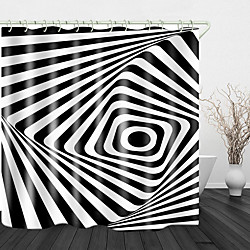 Mini In The Box zwart-witte strepen print waterdichte stof douchegordijn voor badkamer home decor bedekt badkuip gordijnen voering omvat met haken miniinthebox