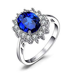 'Princess Diana William Kate Middleton Gemstones Birthstone Halo Solitaire Engagement Rings For Women For Girls Silver Ring (1-created- Sapphire, 11) Miniinthebox