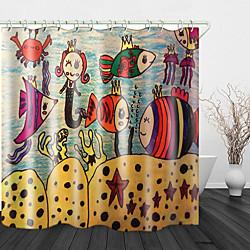 Mini In The Box kinderen schilderen oceaan print waterdichte stof douchegordijn voor badkamer interieur bedekt bad gordijnen voering omvat met haken miniinthebox
