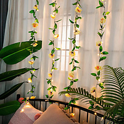 'Rose Flower Ivy Leaf Led Fairy String Light 2m 20 Led Rose Garland Copper Wire Lights For Wedding Party Event Home Décor Warm White Lighting Aa Battery Power Miniinthebox