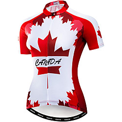 21Grams Women's Short Sleeve Cycling Jersey Summer Spandex Red Leaf Bike Top Mountain Bike MTB Road Bike Cycling Breathable Sports Clothing Apparel / Stretchy / Athleisure miniinthebox