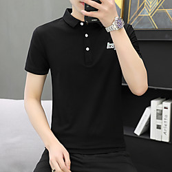 Men's Polo Letter Short Sleeve Daily Tops White Black Gray miniinthebox