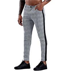 Men's Stylish Business Pants Lattice Full Length Print Black miniinthebox