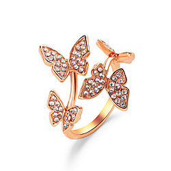 Ring Classic Rose Gold Gold Silver Zircon Copper Butterfly Statement Personalized Simple 1pc Adjustable / Women's / Couple's / Open Cuff Ring / Adjustable Ring miniinthebox
