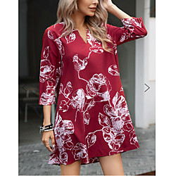 2020 european and american foreign trade hot-selling fashion new amazon wishb explosion print pullover nine-point sleeve dress miniinthebox