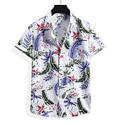 Men's Shirt Graphic Short Sleeve Casual Tops Simple White Black miniinthebox