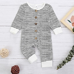 Baby Boys' Basic Striped Animal Print Long Sleeve Romper Gray miniinthebox