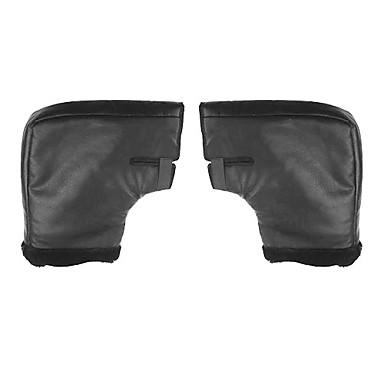 Черный кожаный Руна Теплый поддержанию мотоцикл / снегоход руля Hand Covers 381.