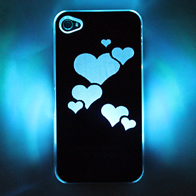 led cellphone flash heart pattern hard case for iphone 4. Black Bedroom Furniture Sets. Home Design Ideas