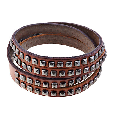 Lureme rivets pattern genuine leather bracelet 838010 2017 for Rivets for leather jewelry