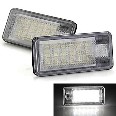 Un paio auto targa lampade lampadine bianche 18 LED SMD luci 12v per audi a3 a4 8e RS4 A6 RS6 ...