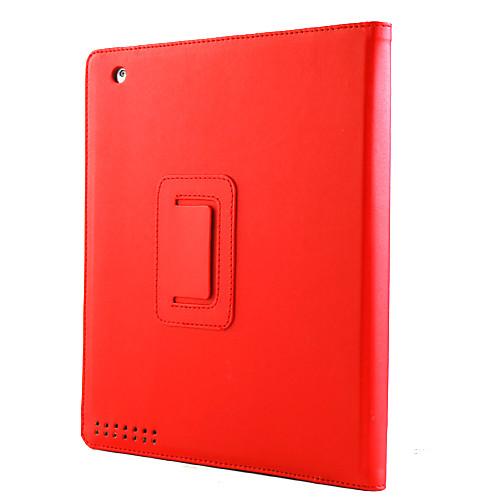 Защитные жесткий кожаный чехол кожи с подставкой для IPad 2/3/4 (красный)  558.000