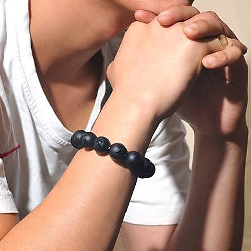 10mm природного человека черный браслет агат (bgem54s10)  644.000