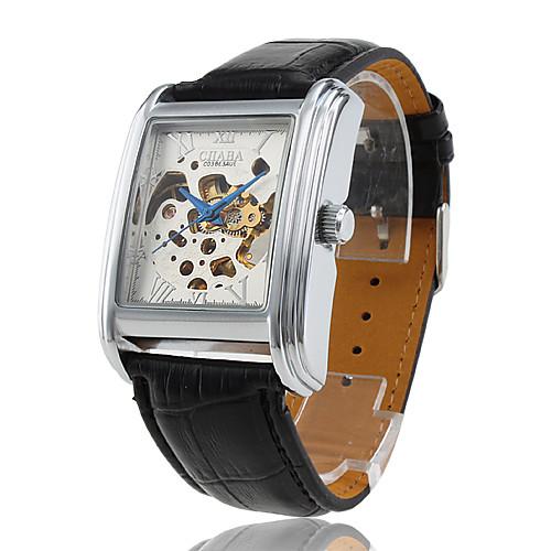 Мужской Часы со скелетом С автоподзаводом С гравировкой Кожа Группа Черный бренд- <br>