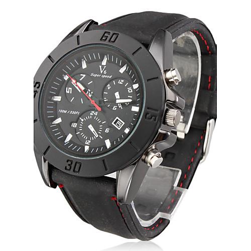 Мужской Наручные часы Японский кварц Календарь силиконовый Группа Черный бренд- V6