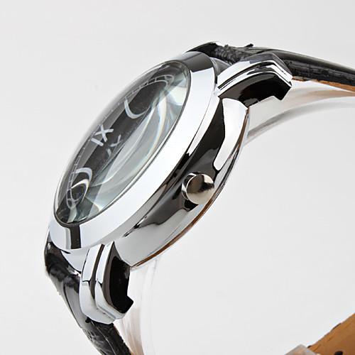 мужские римские цифры черного PU Группа Кварцевые наручные часы  300.000