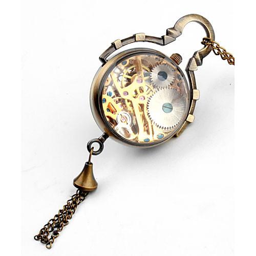 Женские механические аналоговые часы-куллон (бронза). Через прозрачную панель виден часовой механизм.  644.000