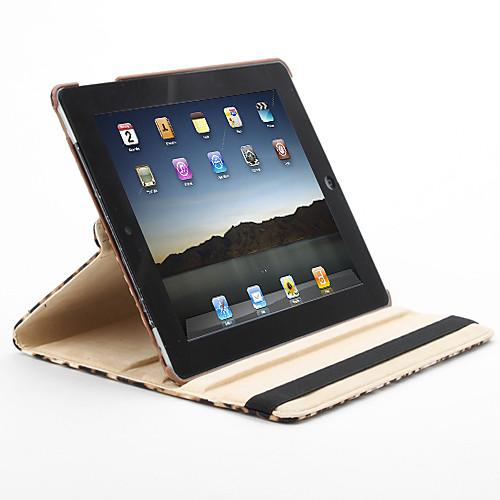 Вращающийся на 360 градусов чехол-подставка для iPad 2/3/4 из кожзама с леопардовым принтом (коричневый)  1288.000