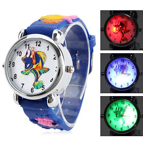 детский мультфильм рыба стиль силиконовый аналоговые кварцевые наручные часы с мигающими привело свет (синий)  214.000