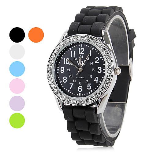 Кварцевые аналоговые женщин Алмазный случае силиконовой лентой наручные часы (разных цветов)  257.000