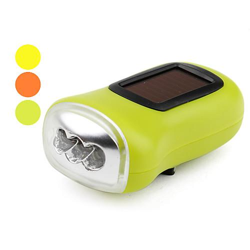 Фонарик с тремя LED и одним режимом (солнечная энергия/динамомашина, разные цвета)
