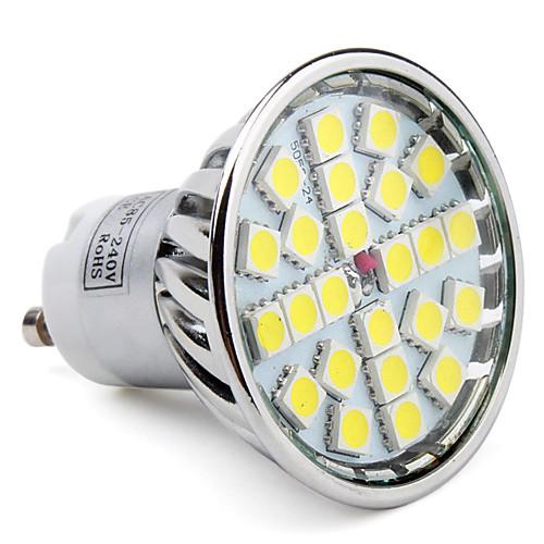 6000lm GU10 Точечное LED освещение MR16 24 Светодиодные бусины SMD 5050 Естественный белый 85-265V цена