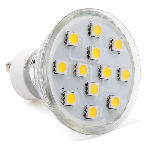 3W 80-100lm GU10 Точечное LED освещение MR16 12 Светодиодные бусины SMD 5050 Тёплый белый 220-240V цена