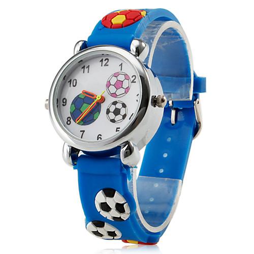 Детские кварцевые наручные часы с синим силиконовым ремешком в футбольном стиле  257.000