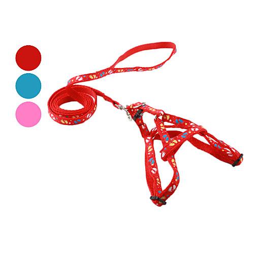 Собака Ремни Поводки Поводок-удавка Отпечаток ступни текстильный Красный Синий Розовый поводки triol поводок рулетка