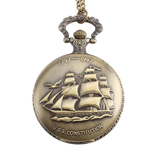 унисекс парусной лодке стиле u.s.s. Конституция сплава аналоговые кварцевые карманные часы (бронза)  214.000