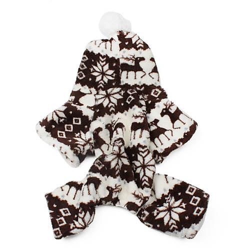 Кошка Собака Толстовки Комбинезоны Одежда для собак Сохраняет тепло В снежинку Серый Кофейный Коричневый Синий Розовый Костюм Для xw 47 55cm