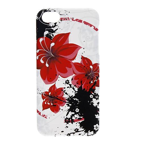 большой цветок красный узор мягкий чехол для iphone 5/5s  257.000