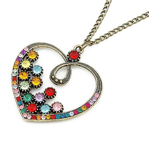 Красочный Crystal Heart сплавов кадра ожерелье  149.000