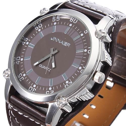 Кварцевые часы унисекс с ремешком из кожзама (коричневые)  300.000