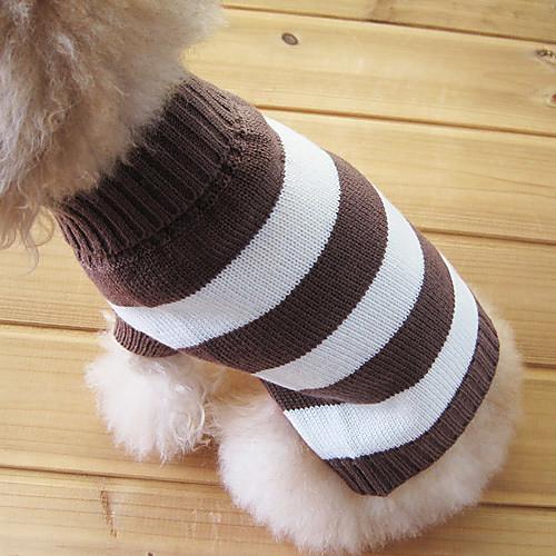 Кошка Собака Свитера Одежда для собак В полоску Хлопок Костюм Для домашних животных Муж. Жен. Сохраняет тепло Мода кошка собака свитера одежда для собак однотонный коричневый сукно костюм для домашних животных муж жен