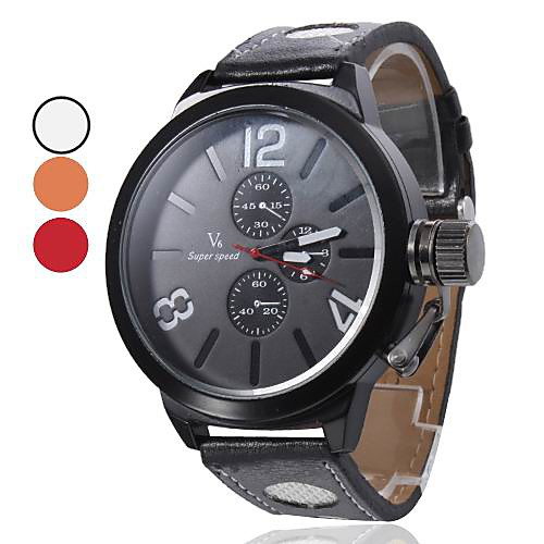 Мужские кварцевые аналоговые PU наручные часы (черный)  429.000