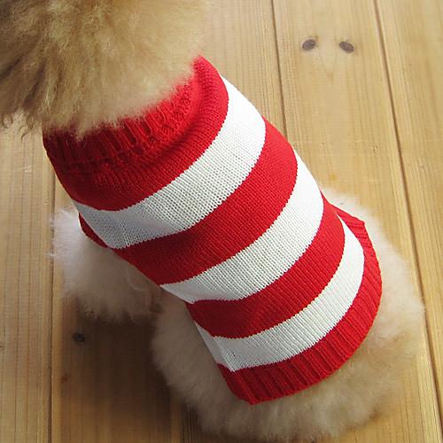 Кошка Собака Свитера Одежда для собак В полоску Красный Хлопок Костюм Для домашних животных Муж. Жен. Мода Рождество кошка собака свитера одежда для собак однотонный коричневый сукно костюм для домашних животных муж жен