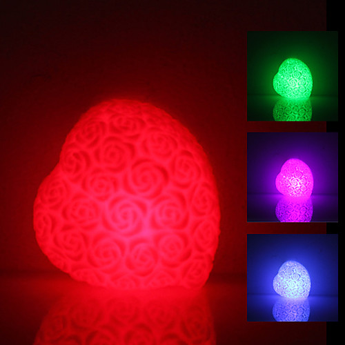 Rose Heart Shaped Красочный светодиодные лампы ночь (3xLR44)