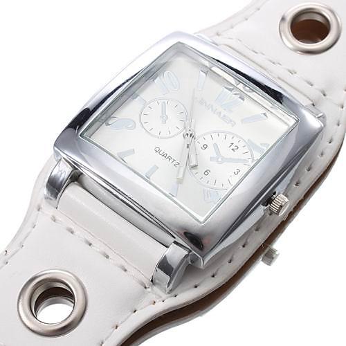 унисекс квадратный корпус белый циферблат широкий PU Группа Кварцевые наручные часы  300.000