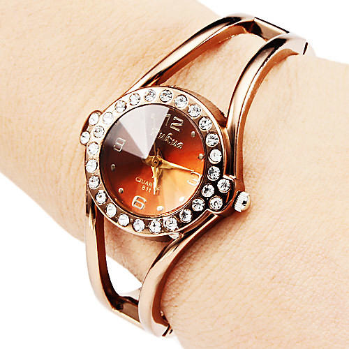Жен. Модные часы Часы-браслет Кварцевый сплав Группа Блестящие Кольцеобразный Элегантные часы Бронза фото