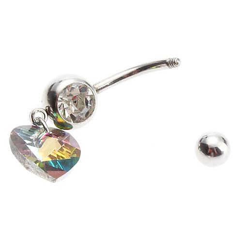 Многоцветный Crystal Heart нержавеющей Navel Ring  89.000