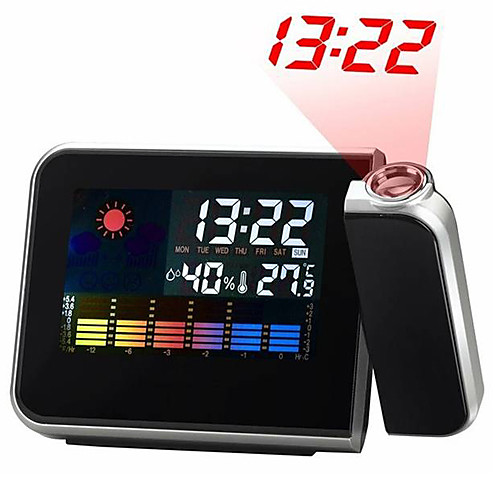 Цифровые настольные часы с проектором времени, метеостанцией, будильником, календарем, термометром и гигрометром (цвет черный, 2 АА)  927.000