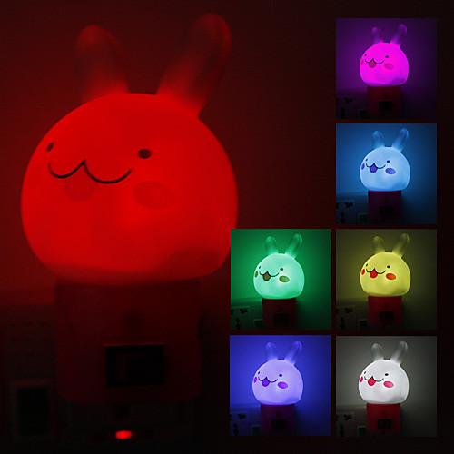 Улыбаясь Кролик Shaped изменения цвета светодиодные ночь (220)