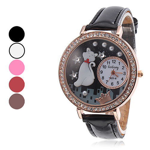Мужская DIY Cat Стиль PU аналоговые кварцевые наручные часы (разных цветов)  300.000