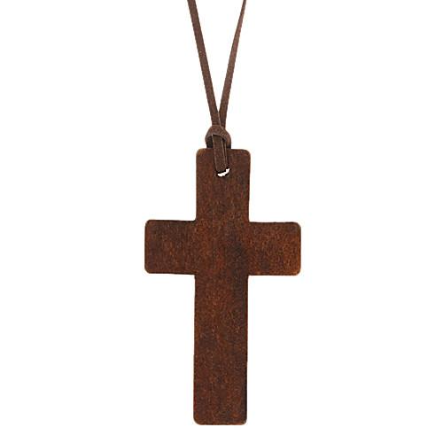 Кожаный шнур деревянный крест длинное ожерелье  128.000