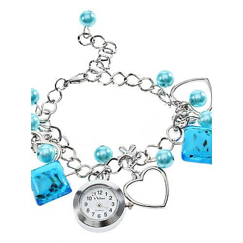 Сплав Женские Пластиковые аналоговые кварцевые часы браслет (синий)  214.000