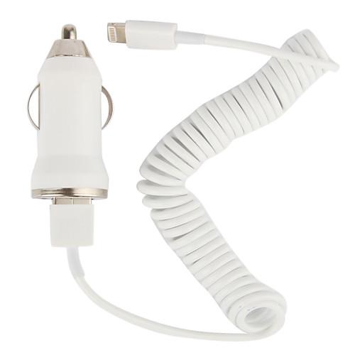 крошечные автомобильное зарядное устройство с 100см яблочного 8 контактный спиральным кабелем для Iphone 5, ставку (DC12-24V, 1а)  128.000